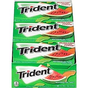 Trident Sugar-Free Gum,Watermelon Twist Flavor,18 Sticks (Pack of 12)