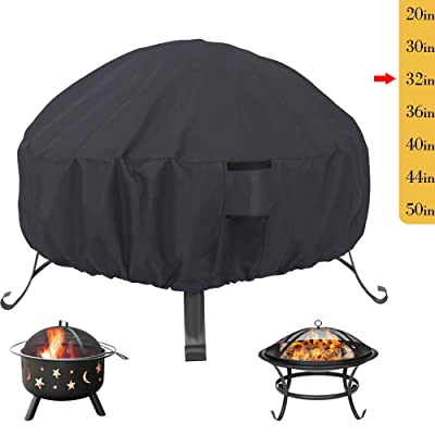 Saking Patio Fire Pit Cover Round 32 inch - Waterproof Windproof Anti-UV Heavy Duty Gas Firepit Furniture Table Covers : Garden & Outdoor