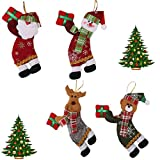 RLucky | Christmas Plush Dolls | Home Ornament Decoration Toys | Santa Clause Snowman Reindeer Doll | Hanging Dolls | Set of 4 Soft Plush Stuffed Toy