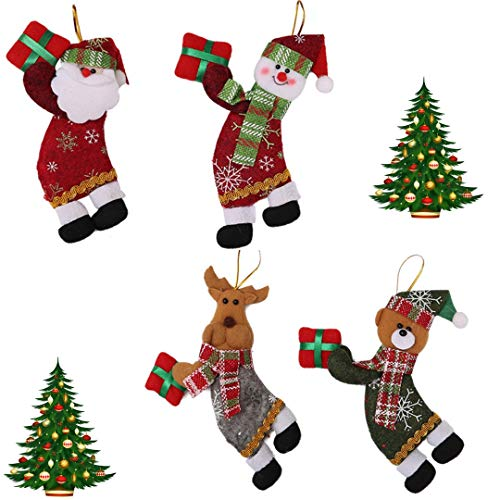 RLucky | Christmas Plush Dolls | Home Ornament Decoration Toys | Santa Clause Snowman Reindeer Doll | Hanging Dolls | Set of 4 Soft Plush Stuffed Toy (Ornaments Snowman Stuffed)