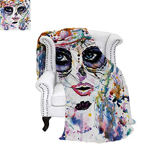 (warmfamily Sugar Skull Digital Printing Blanket Halloween Girl with Sugar Skull Makeup Watercolor Painting Style Creepy Look Lightweight Blanket 60