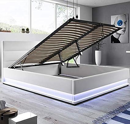 muebles bonitos Cama canapé abatible de Matrimonio Moderna Nitas con somier de láminas para colchón de 180x200cm Blanco diseño Italiano con LED Blanco ...