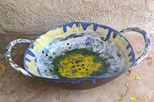 Oval X-Large Colander, handmade ceramic kitchen pottery