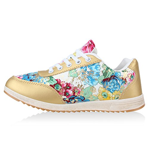 Unisex Laufschuhe Damen Herren Sportschuhe Neon Blumen Metallic Leder-Optik Schuhe Animal Print Sneakers Runners Profilsohle Flandell Gold Blumen