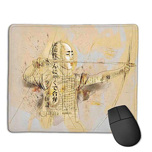 Mouse Pad Bundle Stitched Edges Premium Waterproof Mouse Mat Pad,Japanese,Archer in a Combat Hand Drawn Modern Martial Art Asian War Culture Illustration,Yellow Black,Consoles More Enjoy Precise &