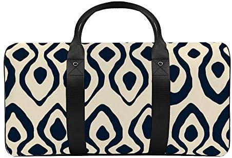 ブロケードインディゴアイボリー1 旅行バッグナイロンハンドバッグ大容量軽量多機能荷物ポーチフィットネスバッグユニセックス旅行ビジネス通勤旅行スーツケースポーチ収納バッグ