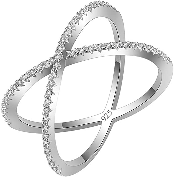 Blanc Zircone cubique Pointu Arrow Open Criss Cross Ring 925 Sterling Silver Band Taille 4-10
