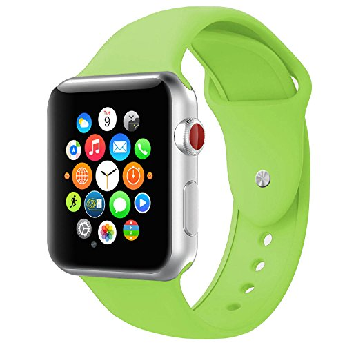 BOTOMALL Compatible with Apple Watch Band 38mm 40mm 42mm 44mm Classic Silicone Sport Replacement Strap Bracelet for iWatch All Models Series 4 Series 3 Series 2 Series 1 (Green,42/44mm S/M)