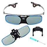 BOBLOV One Pack Blue 144Hz 3D DLP-Link Active Shutter Rechargeable Glasses Myopic 3D Glasses for BenQ Optoma Acer Projector