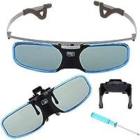 BOBLOV One Pack Blue 144Hz 3D DLP-Link Active Shutter Rechargeable Glasses Myopic 3D Glasses for BenQ Optoma Acer Projector