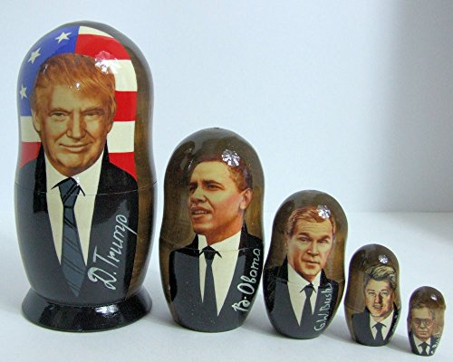 5pcs Handmade Russian Nesting Doll of President Trump & His Predecessors (Biggest doll 7.25 inches) by Olga's Russian Collectibles (Image #2)