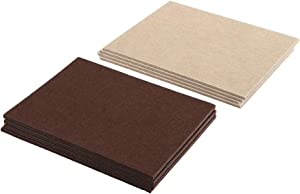Prime-Line MP76675 Heavy-Duty Furniture Felt Pad Assortment, 1/4 in. Thick w/Self-Adhesive Backing, Beige and Brown, Large Rectangles, Pack of 8