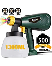 Paint Sprayer, TECCPO 500W 1300ml DIY Electric Spray Gun, with 3 Copper Spray Nozzles, Max Flow 800ml/min, Detachable Container and Adjustable Valve Knob, 100 DIN-s, for Painting Projects - TAPS02P