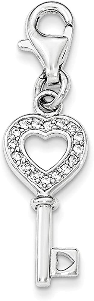 Pendants Beach and Sea Life Charms .925 Sterling Silver CZ Heart Key with Lobster Clasp Charm Pendant