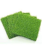 ECO MATRIX Artificial Grass Placemats Fake Grass Suqare Mat Tiles Small Synthetic Grass Lawn Turf for Miniature Ornament Garden Dollhouse DIY Decoration (4 Pcs 12''x 12'')