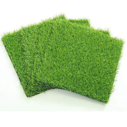 ECO MATRIX Artificial Grass Placemats Fake Grass Suqare Mat Tiles Small Synthetic Grass Lawn Turf for Miniature Ornament Garden Dollhouse DIY Decoration (4 Pcs 12''x -