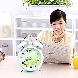 Ayzr Electronic Double Bell Stereo Alarm Clock, Flying Disk, Electronic Quartz, Creative Home, Luminous Bedroom, Living Room, Dormitory Clock,Blue