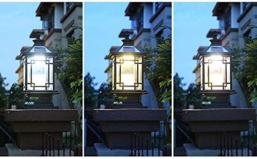 P55 Post Light Square Solar Pillar Lights LED Outdoor Garden Lamps Fence Posts Outdoor Lighting Traditional Black Gate Porch Glass Lantern Column Decor Streetlight Table Lamp Size : 59 * 28cm