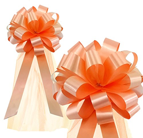 Peach Wedding Pull Bows with Tulle Tails - 8