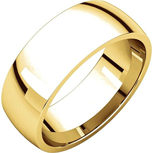 Men's and Women's 14k Yellow Gold, 7mm Wide, Comfort Fit, Plain Wedding Band - Size 9.5
