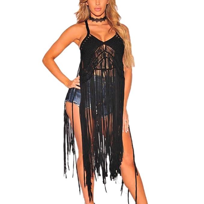 40570c070bcc5 Velidy Women's Sexy Lace Bathing Suit Handmade Crochet Tassel Bikini Cover  Up Swimwear Summer Beach Dress