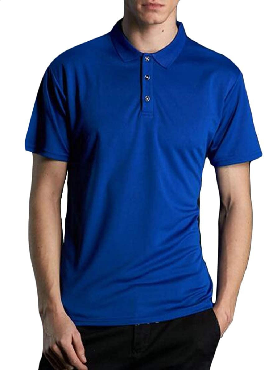 shinianlaile Mens Casual Slim Fit Short Sleeve Solid Polo Shirt Summer Tops