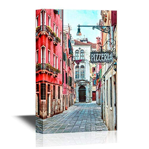 Canvas Wall Art Poster Art Pictures Print Painting - Quaint Street in Historic Venice, Italy with Pizzeria Sign - Gallery Wrap Modern Home Decor | Ready to Hang - 12x18 inches