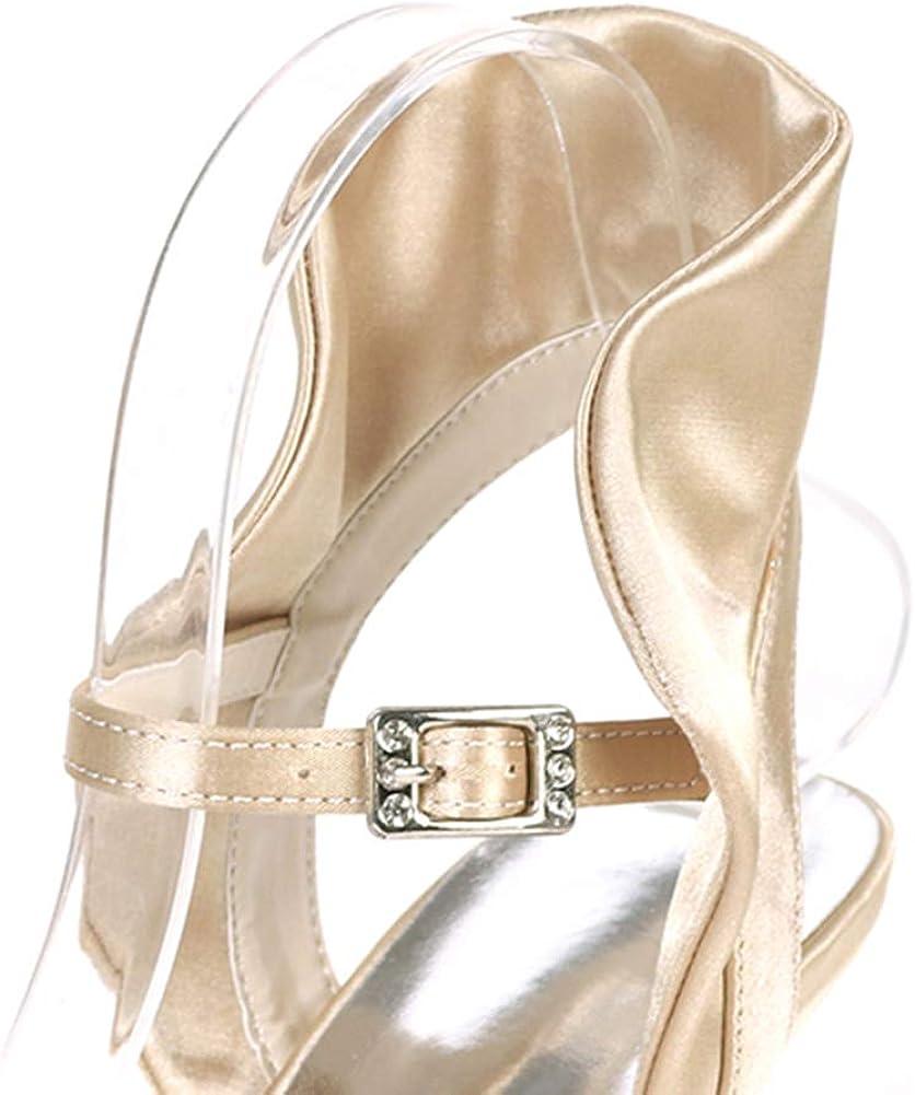 Love Shoes Scarpe Da Sposa Da Donna Open Toe Cinturino Alla Caviglia Fibbia Tacco Alto Raso Abiti Da Sposa Damigelle Scarpe Da Sera Sandali Champagne