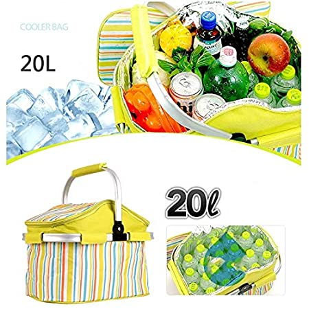 Amazon.com  Morden Orange Stripe Cloth Outdoor Beach Picnic Storage Basket 7fd12d3c513ab