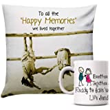 Giftsbymeeta Happy Memories Cushion With White Mug Rakhi Gifts For Brother RAKHIGIFTS9119