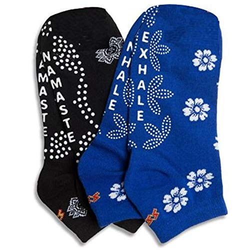 Non-slip Non-Skid Yoga Pilates Socks for Women, Pure Barre, Great Grip for Balance (2 Pack)