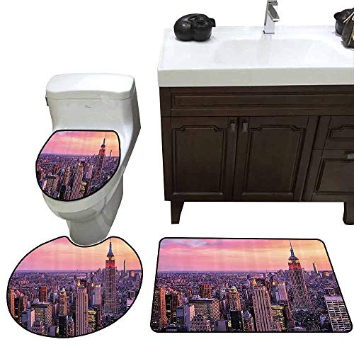 3 Piece Anti-Slip mat Set New York New York City Midtown with Empire State Building at Sunset Business Center Rooftop Photo Custom Made Rug Set Peach ()