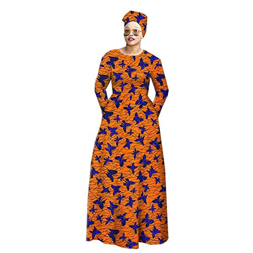 African Dresses for Women Party Wear Flower Floral Fashion Wax Ankara+Headwrap 35×45 inch 476 L