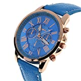 Fashion Geneva Roman Numerals Faux Leather Analog Quartz Women Wrist Watch for Men Women Bracelet Watch