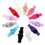 Ever Fairy Chiffon Lace Flower Baby Girls Turban Headband Head Wrap With Pearl (6 Color B)