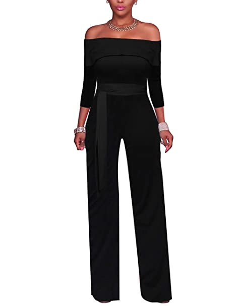 6914baa2fbe9 Amazon.com  Vilover Women Jumpsuits Off Shoulder Solid Jumpsuits Wide Leg  Long Romper Pants with Belt  Clothing