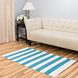 Harbormill 3 x 5 Ft. Turquoise Bold Stripe Area Rug For Sale