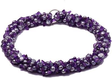 Silver Chain Purple /& Pearl Button Bracelet