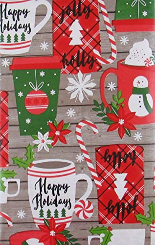 Christmas Cups Mugs on Gray Wood Background Vinyl Flannel Back Tablecloth (60