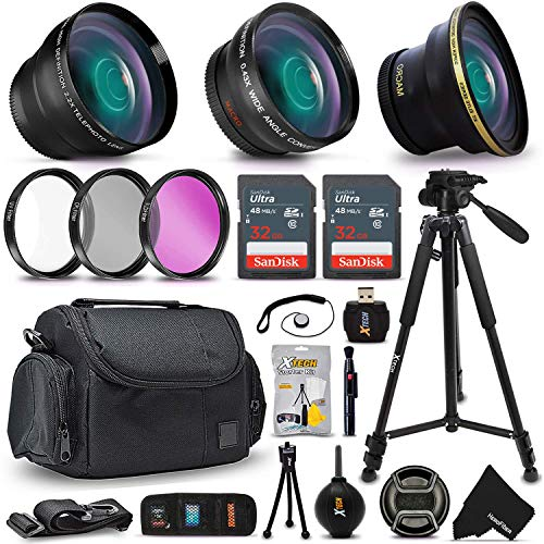 "(Deluxe 28 Piece Accessory Kit for Canon EOS Rebel T6i T6S T5i T5 T4i T3i T3 T2i 750D 70D 60D 60Da 700D 650D 600D 550D 1200D 1100D 100D SL1 EOS M3 M2 7D Mark II 5D Mark II EOS 5D Mark III XS XSi XT XTi Kiss X50 kiss X70 Kiss X7i Kiss X6i Kiss X5 kiss X4 DSLR Cameras Includes: 58mm Super High Definition FishEye Lens + 58mm High Definition 2X Telephoto Lens + 58mm High Definition Wide Angle Lens + 16GB High Speed Memory Card + 8GB High Speed Memory Card + Professional Full Size 72"" Inch Tripod + Large Well Padded Case + Universal Camera Remote Control + 58mm 3 Piece Glass Filter Set (UV Filter + CPL Filter + ND Filter) + Universal Card Reader + Flexible Mini Table Tripod + Memory Card Case Holder + Screen Protectors + Mini Blower + Cleaning Pen + 58mm Lens Cap + Lens Cap Holder + Deluxe Cleaning Kit + Ultra Fine HeroFiber Cleaning Cloth)"