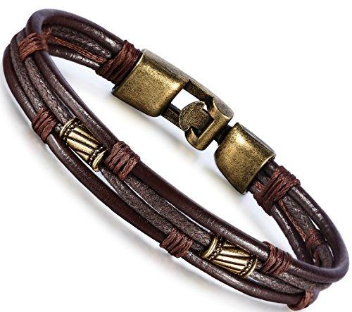 Amazon Lightning Deal 90% claimed: Jstyle Mens Vintage Leather Wrist Band Brown Rope Bracelet Bangle