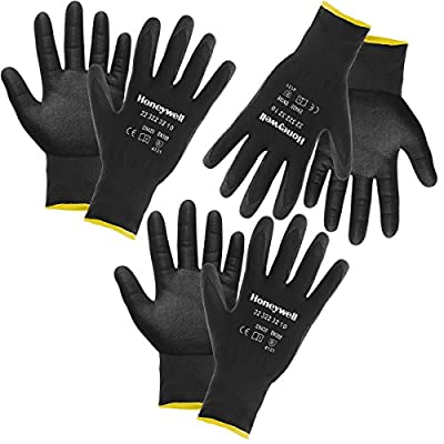 Honeywell 3 Pairs Heavy Duty Nitrile Coated Work Gloves Automotive Construction