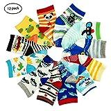 12 Pairs Toddler Boy Girl Socks Lovely Assorted Cartoon Kids Socks Non Skid Slipper Socks Grips 12-36 Months Baby