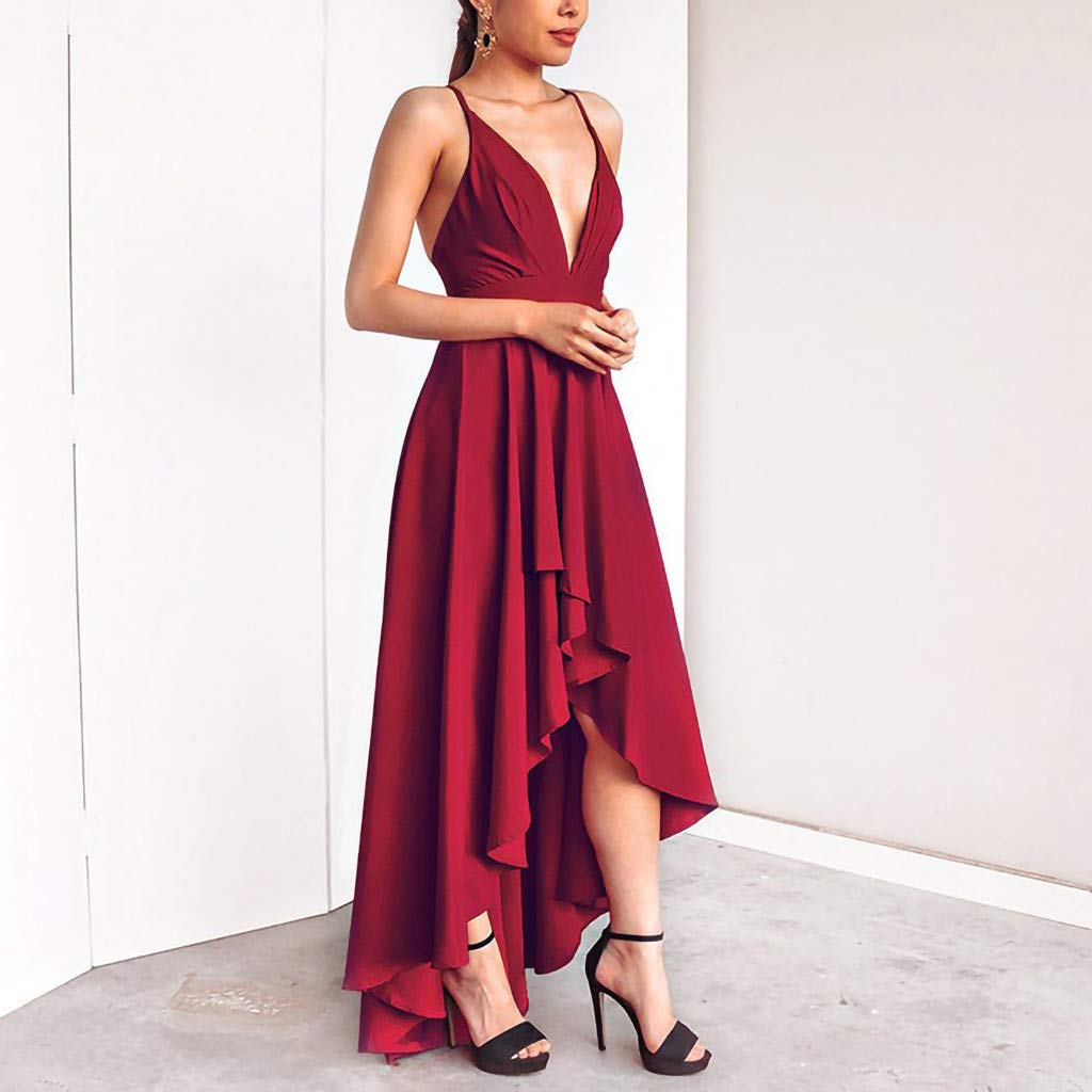Malbaba Evening Long Prom Dress Plunge V Neck Floor Length High-Low Wedding Backless Maxi Gown Dresses