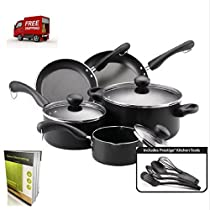 Non Stick Cookware Set Of 12 Pieces For Everyday Use, Black Colored, Aluminum And E-Book By tsr