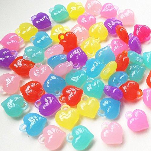 Qingxi Charm 60pcs Shiny Candy Jelly Color Love Heart Shaped Clear Acrylic Pendant Bead Hairband Bracelets Jewelry DIY Craft (Love Heart) - Acrylic Star Charms