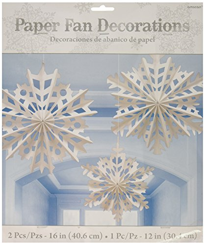 amscan Snowflake Hanging Paper Fan | Christmas Decoration -
