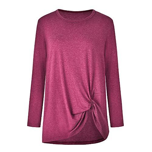 Loose Tops Women's Pink Tunic Sleeve Fall XOWRTE Shirt T Long Hot Casual Neck Solid O Blouse zOZwnndBqX