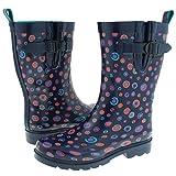 Capeli New York Shiny Painted Marbles Printed Ladies Short Rain Boot Navy Combo 8