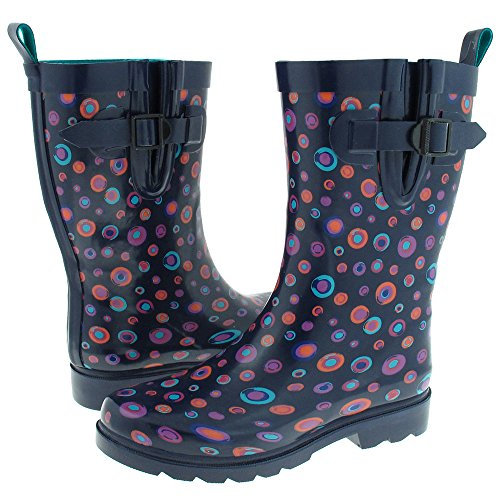 Capeli New York Shiny Painted Marbles Printed Ladies Short Rain Boot Navy Combo 9